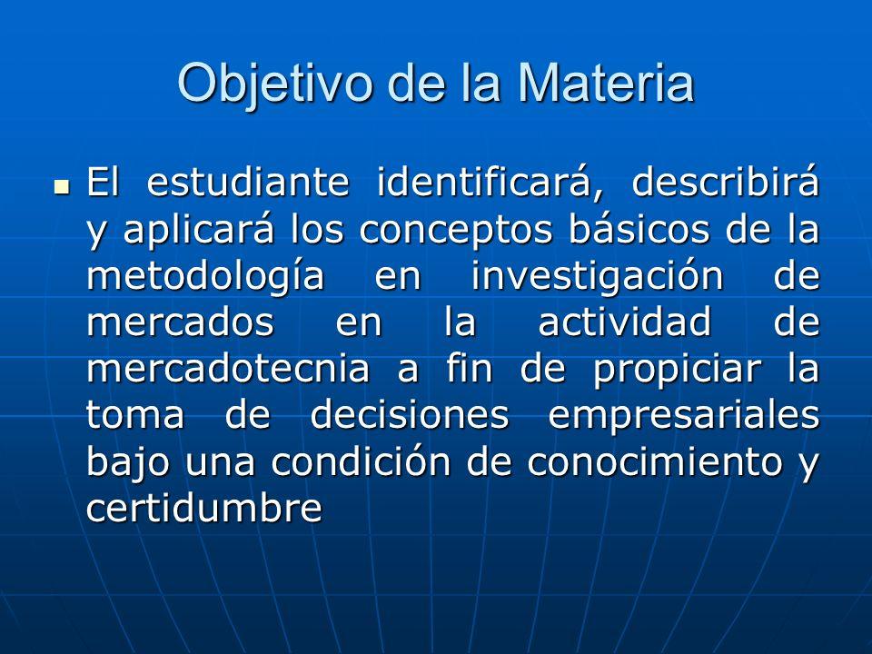 Objetivo de la Materia El estudiante identificará, describirá y aplicará los conceptos básicos de la metodología en investigación de mercados en la ac