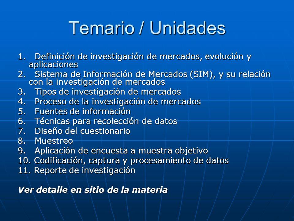 Temario / Unidades 1. Definición de investigación de mercados, evolución y aplicaciones 2. Sistema de Información de Mercados (SIM), y su relación con