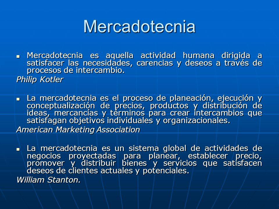 Mercadotecnia Mercadotecnia es aquella actividad humana dirigida a satisfacer las necesidades, carencias y deseos a través de procesos de intercambio.