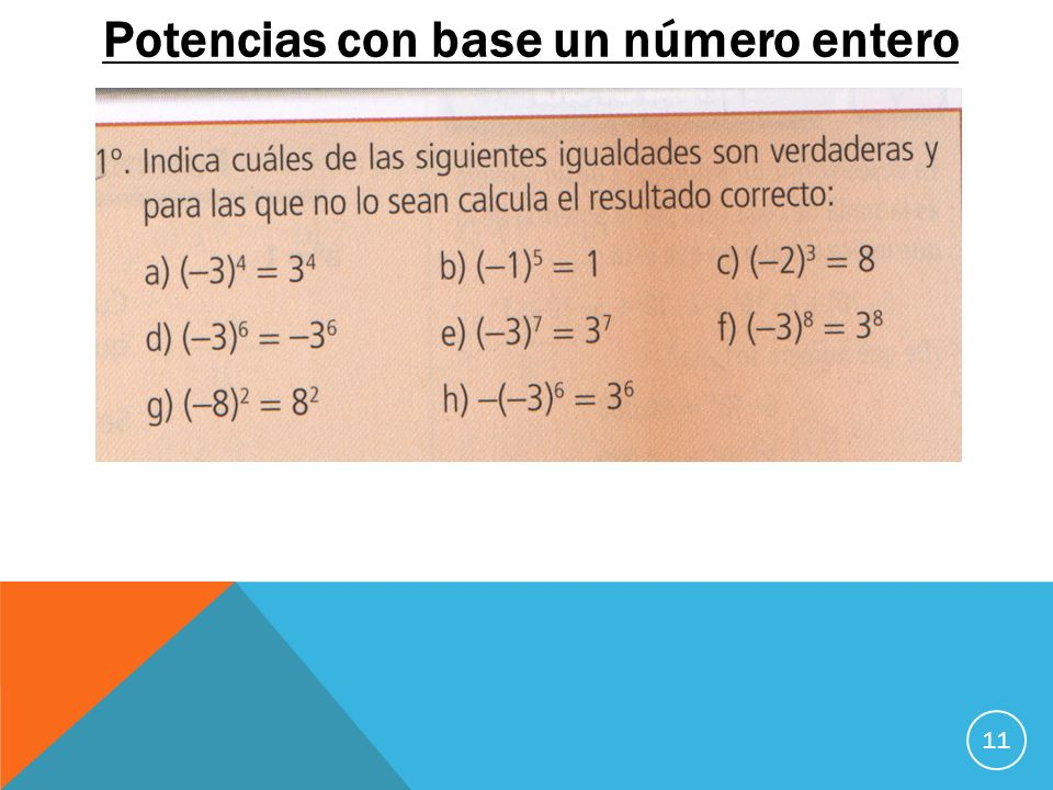 Potencias con base un número entero 11