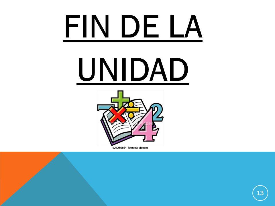 FIN DE LA UNIDAD 13