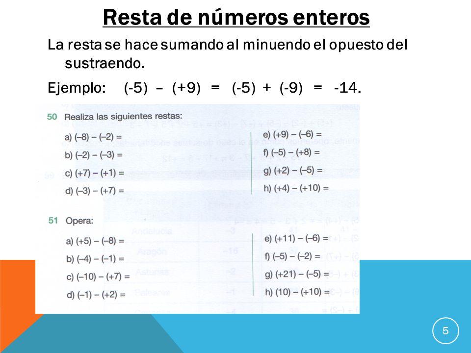 Resta de números enteros La resta se hace sumando al minuendo el opuesto del sustraendo. Ejemplo: (-5) – (+9) = (-5) + (-9) = -14. 5