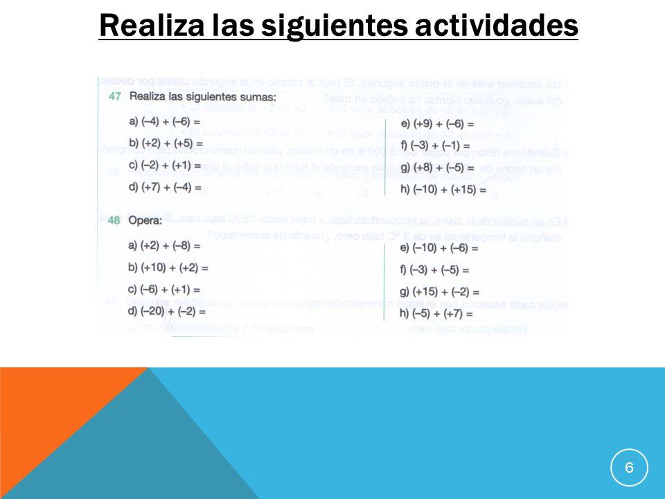 Realiza las siguientes actividades 6