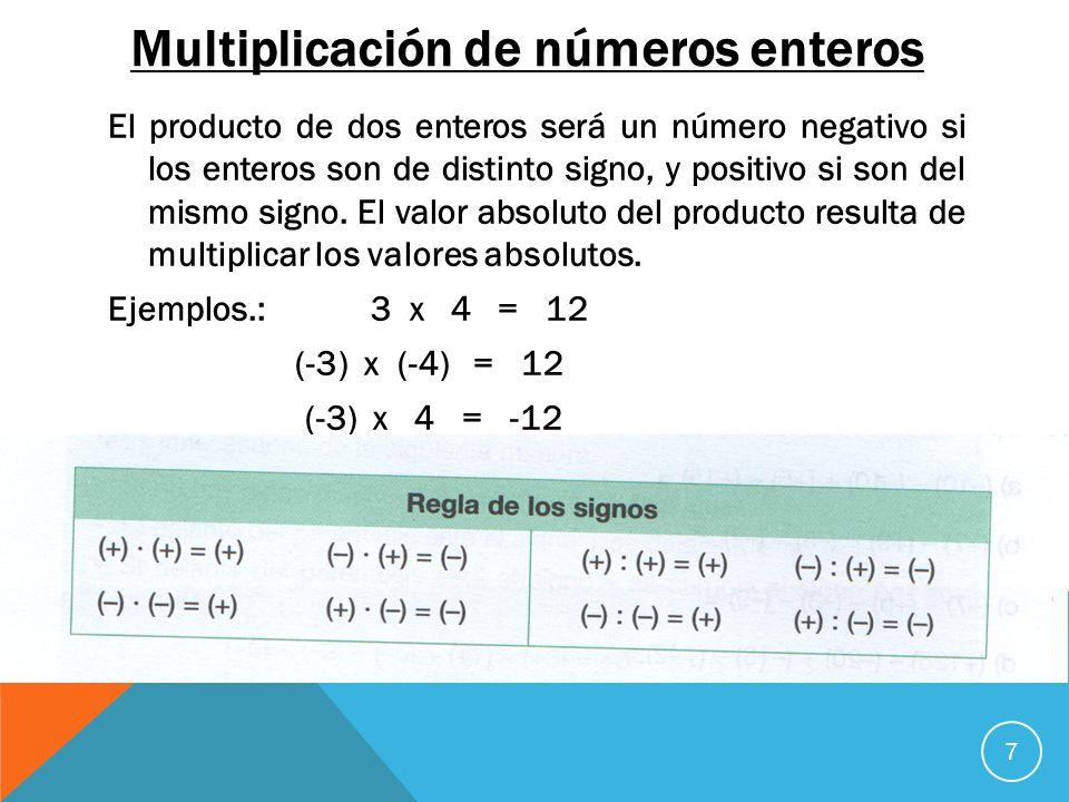 Multiplicación de números enteros El producto de dos enteros será un número negativo si los enteros son de distinto signo, y positivo si son del mismo