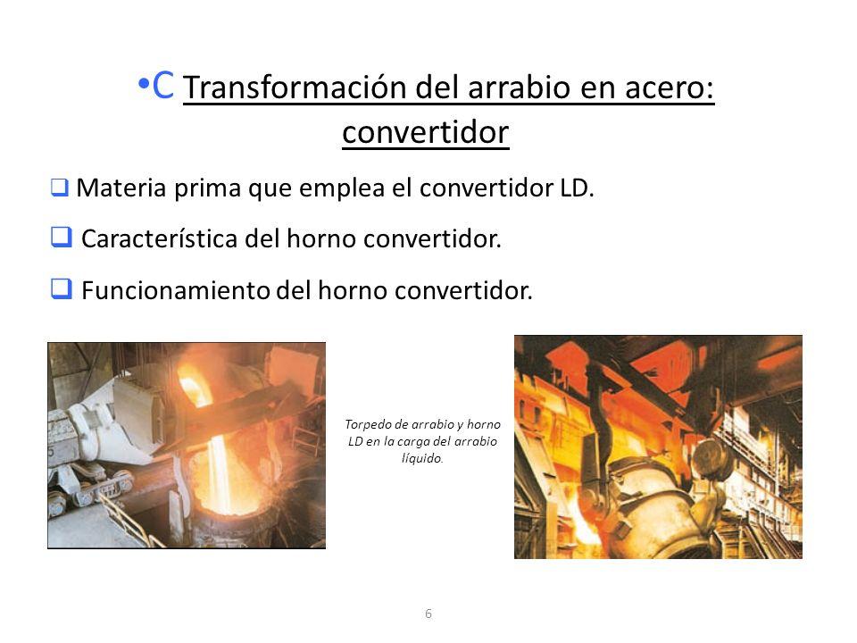6 C Transformación del arrabio en acero: convertidor Materia prima que emplea el convertidor LD. Característica del horno convertidor. Funcionamiento