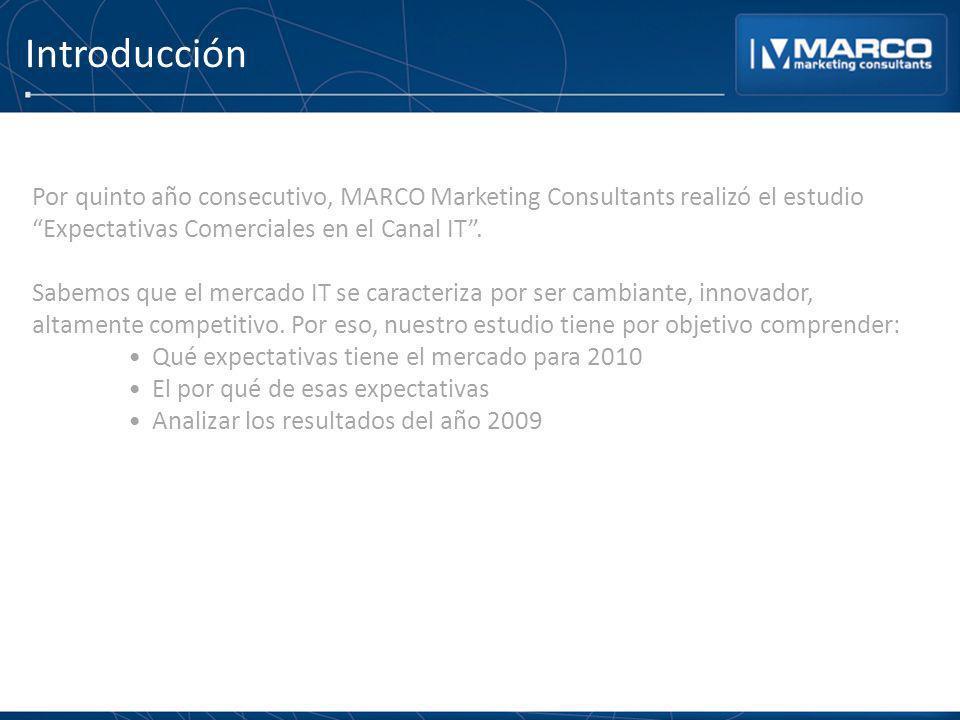 Introducción Por quinto año consecutivo, MARCO Marketing Consultants realizó el estudio Expectativas Comerciales en el Canal IT. Sabemos que el mercad