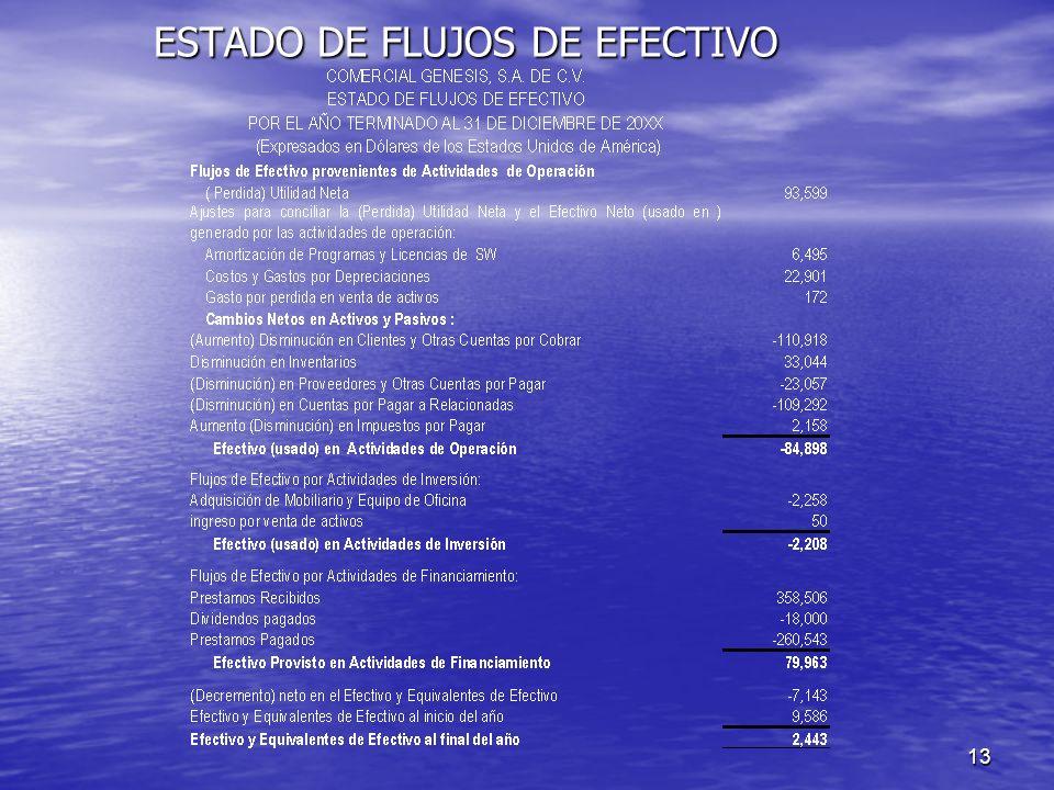 13 ESTADO DE FLUJOS DE EFECTIVO