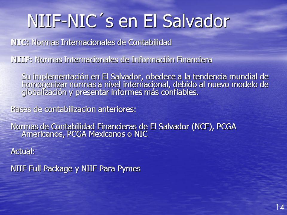 NIC: Normas Internacionales de Contabilidad NIIF: Normas Internacionales de Información Financiera Su implementación en El Salvador, obedece a la tend