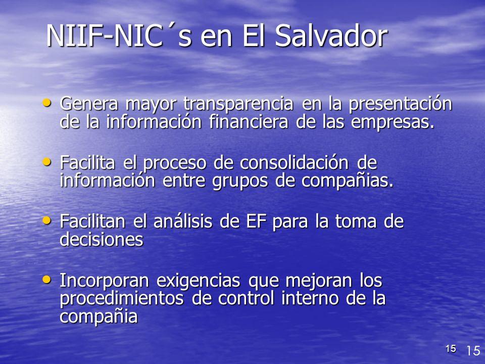 15 Genera mayor transparencia en la presentación de la información financiera de las empresas. Genera mayor transparencia en la presentación de la inf