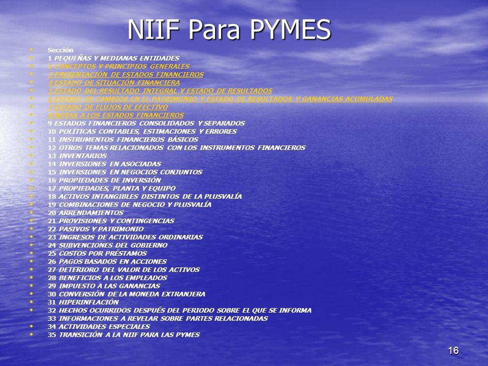 16 NIIF Para PYMES Sección 1 PEQUEÑAS Y MEDIANAS ENTIDADES 2 CONCEPTOS Y PRINCIPIOS GENERALES 3 PRESENTACIÓN DE ESTADOS FINANCIEROS 4 ESTADO DE SITUAC