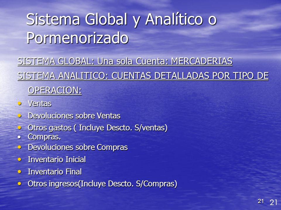21 Sistema Global y Analítico o Pormenorizado SISTEMA GLOBAL: Una sola Cuenta: MERCADERIAS SISTEMA ANALITICO: CUENTAS DETALLADAS POR TIPO DE OPERACION