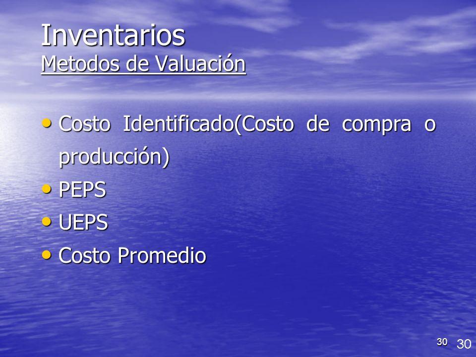30 Inventarios Metodos de Valuación Costo Identificado(Costo de compra o producción) Costo Identificado(Costo de compra o producción) PEPS PEPS UEPS U