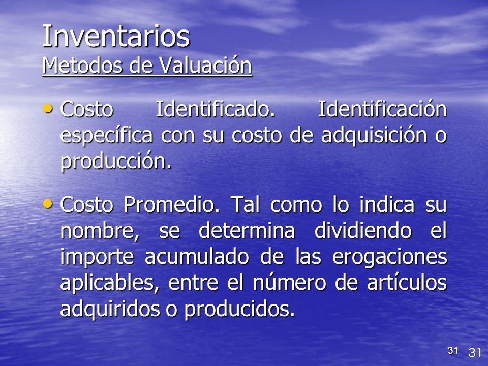 31 Inventarios Metodos de Valuación Costo Identificado. Identificación específica con su costo de adquisición o producción. Costo Identificado. Identi