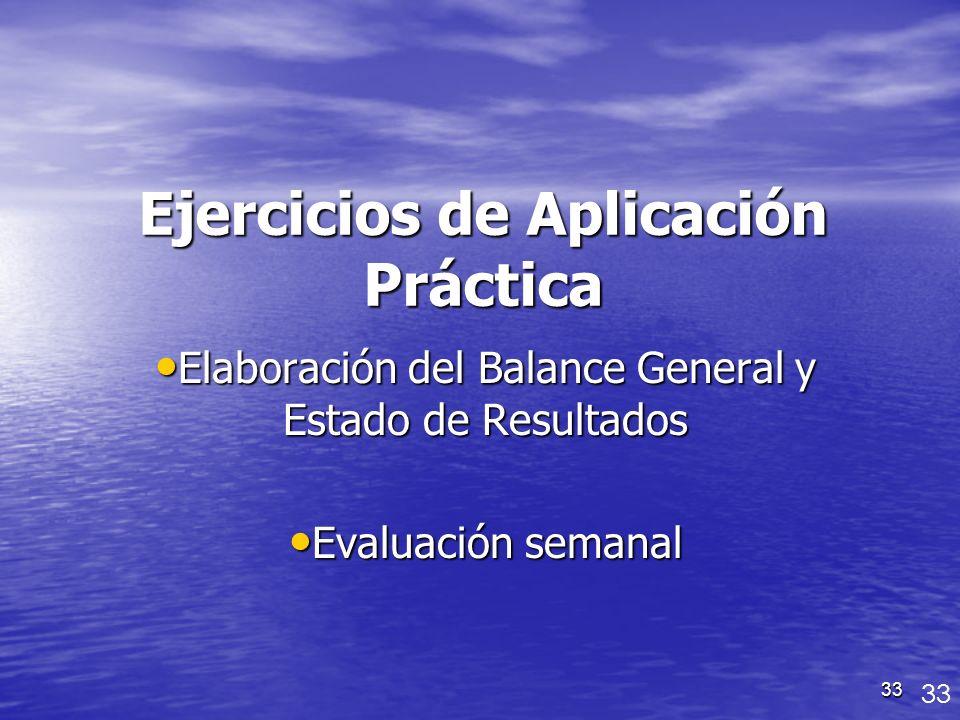 33 Ejercicios de Aplicación Práctica Elaboración del Balance General y Estado de Resultados Elaboración del Balance General y Estado de Resultados Eva