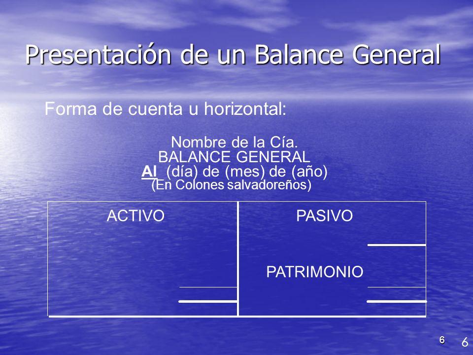 6 Nombre de la Cía. BALANCE GENERAL Al (día) de (mes) de (año) (En Colones salvadoreños) ACTIVOPASIVO PATRIMONIO Presentación de un Balance General Fo
