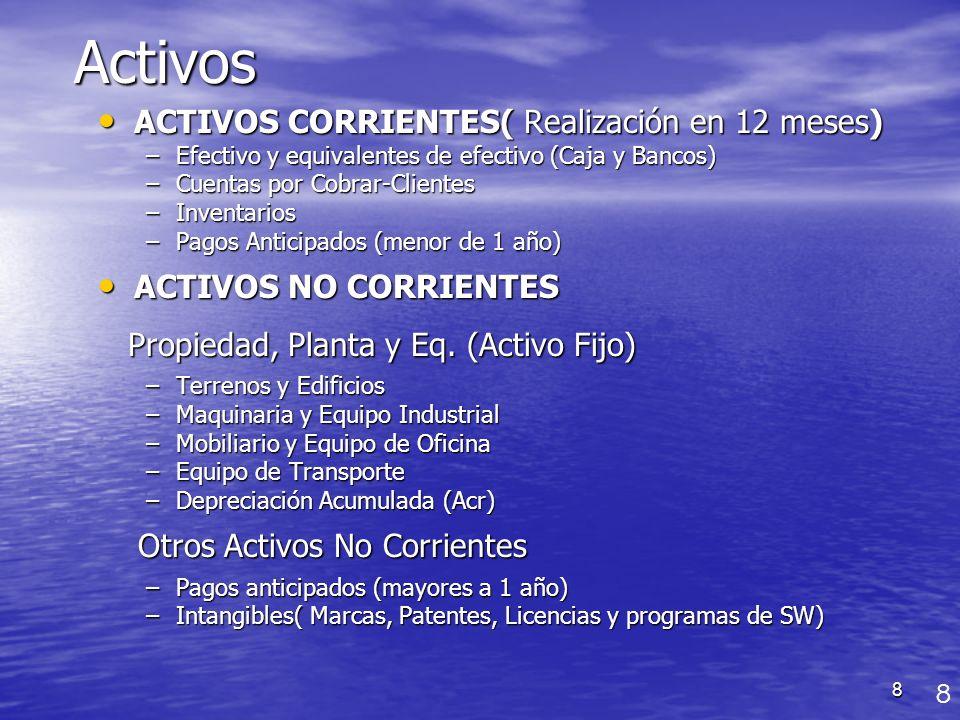 8Activos ACTIVOS CORRIENTES( Realización en 12 meses) ACTIVOS CORRIENTES( Realización en 12 meses) –Efectivo y equivalentes de efectivo (Caja y Bancos