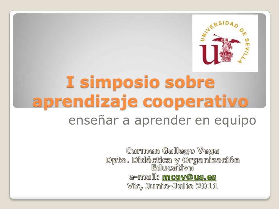 I simposio sobre aprendizaje cooperativo enseñar a aprender en equipo
