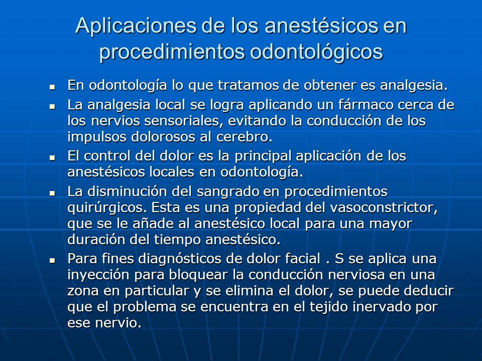 Aplicaciones de los anestésicos en procedimientos odontológicos En odontología lo que tratamos de obtener es analgesia. En odontología lo que tratamos