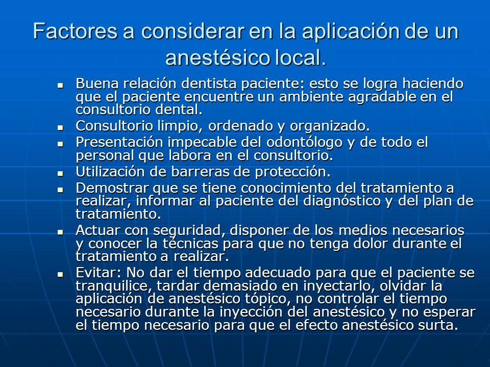 Factores a considerar en la aplicación de un anestésico local. Buena relación dentista paciente: esto se logra haciendo que el paciente encuentre un a