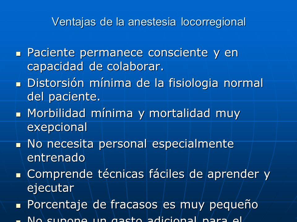 Ventajas de la anestesia locorregional Paciente permanece consciente y en capacidad de colaborar. Paciente permanece consciente y en capacidad de cola