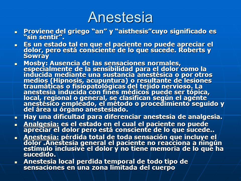 Anestesia Proviene del griego an y aisthesiscuyo significado es sin sentir. Proviene del griego an y aisthesiscuyo significado es sin sentir. Es un es