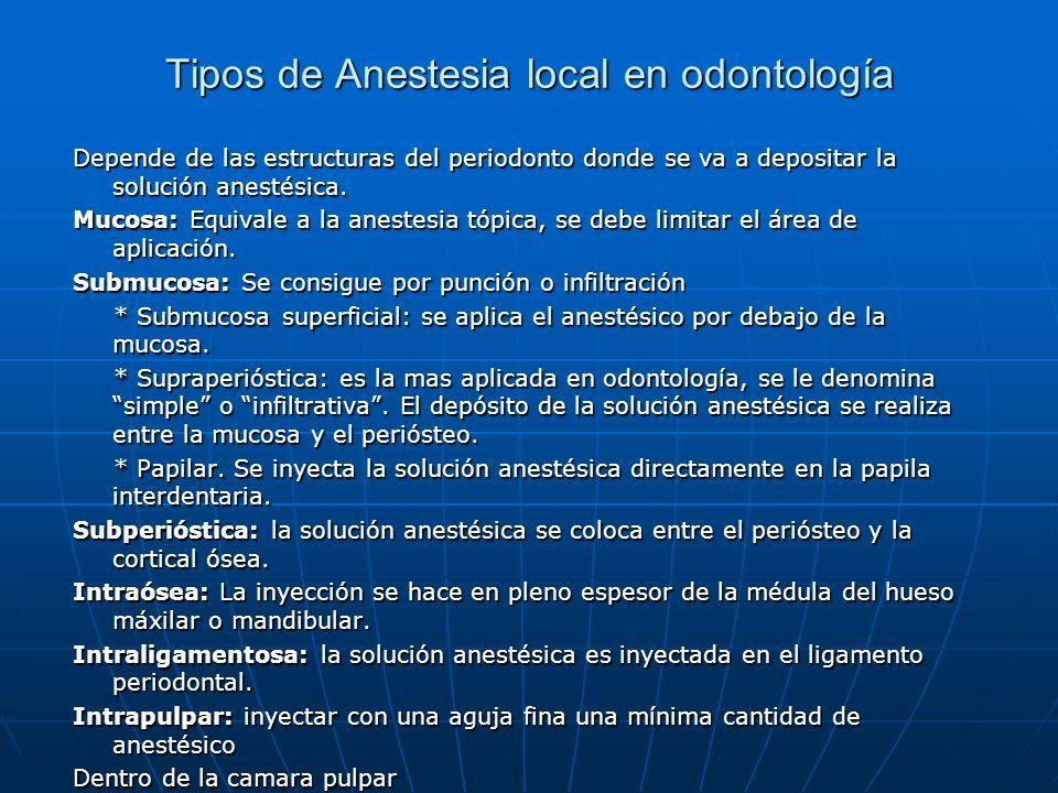 Tipos de Anestesia local en odontología Depende de las estructuras del periodonto donde se va a depositar la solución anestésica. Mucosa: Equivale a l