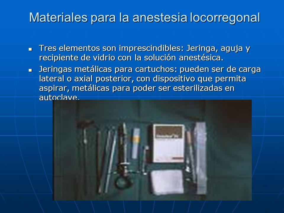 Materiales para la anestesia locorregonal Tres elementos son imprescindibles: Jeringa, aguja y recipiente de vidrio con la solución anestésica. Tres e
