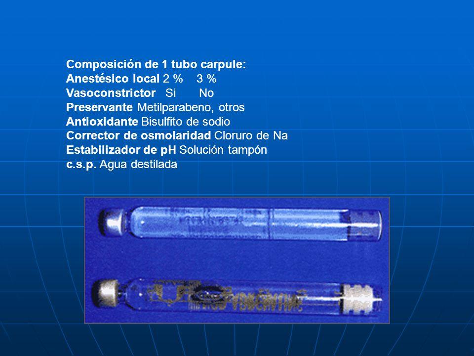 Composición de 1 tubo carpule: Anestésico local 2 % 3 % Vasoconstrictor Si No Preservante Metilparabeno, otros Antioxidante Bisulfito de sodio Correct