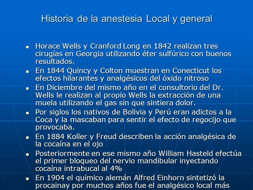 Historia de la anestesia Local y general Horace Wells y Cranford Long en 1842 realizan tres cirugías en Georgia utilizando éter sulfúrico con buenos r