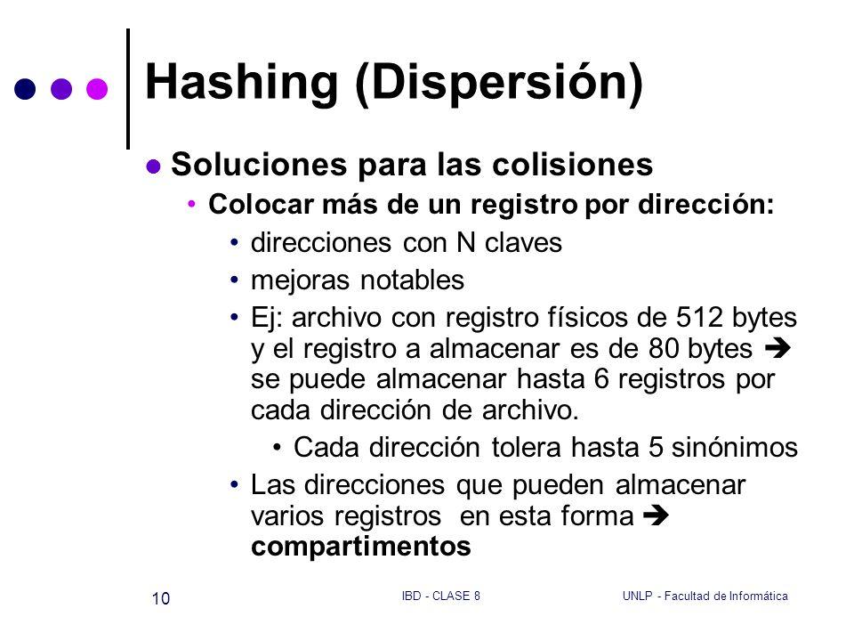 UNLP - Facultad de InformáticaIBD - CLASE 8 10 Hashing (Dispersión) Soluciones para las colisiones Colocar más de un registro por dirección: direccion