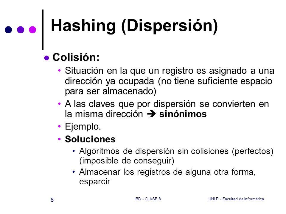 UNLP - Facultad de InformáticaIBD - CLASE 8 8 Hashing (Dispersión) Colisión: Situación en la que un registro es asignado a una dirección ya ocupada (n