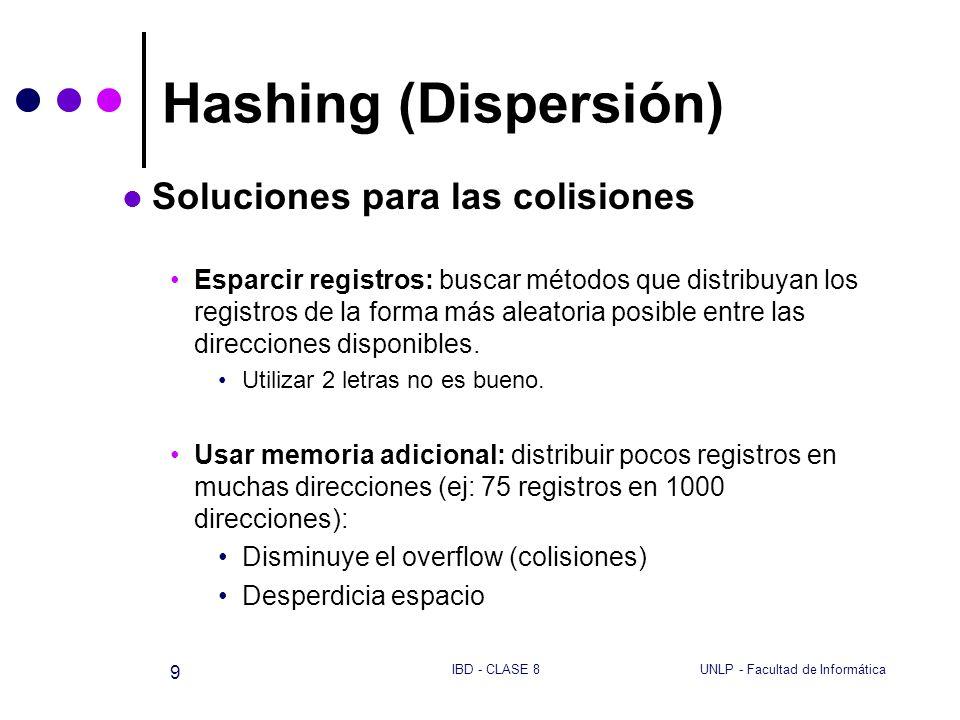 UNLP - Facultad de InformáticaIBD - CLASE 8 9 Hashing (Dispersión) Soluciones para las colisiones Esparcir registros: buscar métodos que distribuyan l