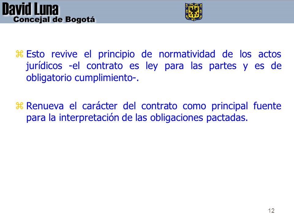 12 zEsto revive el principio de normatividad de los actos jurídicos -el contrato es ley para las partes y es de obligatorio cumplimiento-. zRenueva el