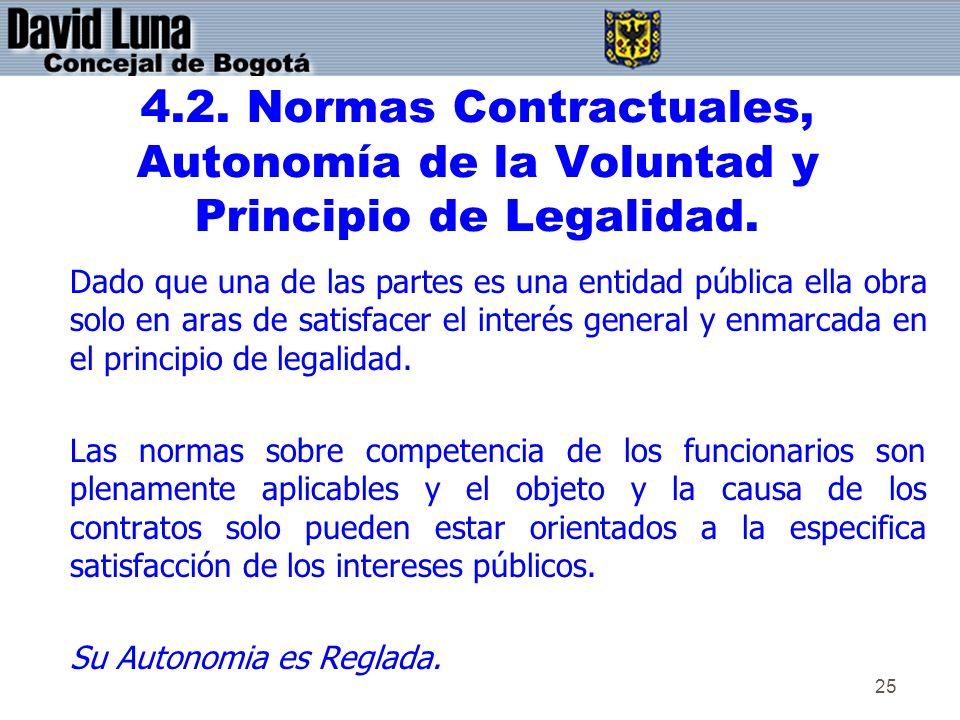 25 4.2. Normas Contractuales, Autonomía de la Voluntad y Principio de Legalidad. Dado que una de las partes es una entidad pública ella obra solo en a