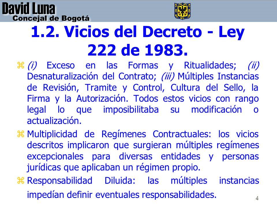 4 1.2. Vicios del Decreto - Ley 222 de 1983. z(i) Exceso en las Formas y Ritualidades; (ii) Desnaturalización del Contrato; (iii) Múltiples Instancias