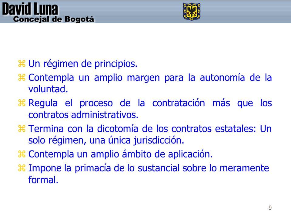 9 zUn régimen de principios. zContempla un amplio margen para la autonomía de la voluntad. zRegula el proceso de la contratación más que los contratos