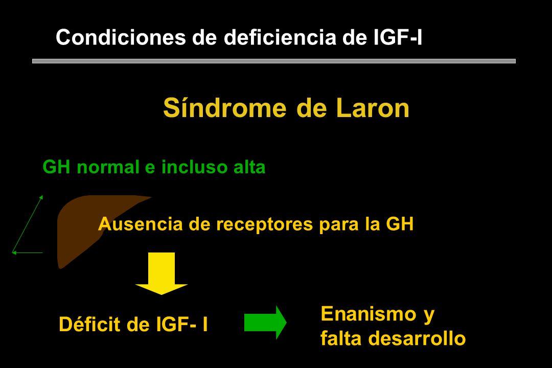 Condiciones de deficiencia de IGF-I Síndrome de Laron Ausencia de receptores para la GH: incapacidad del parénquima hepático para responder a la GH, s