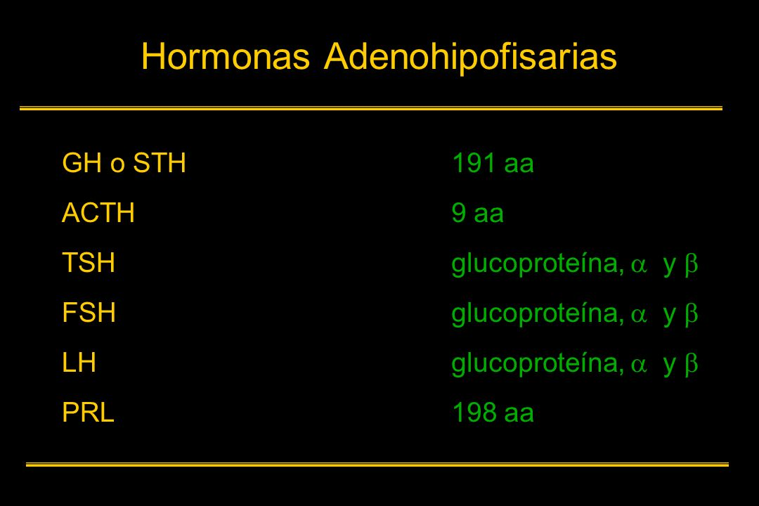 Hormonas Adenohipofisarias GH o STH ACTH TSH FSH LH PRL 191 aa 9 aa glucoproteína, y 198 aa