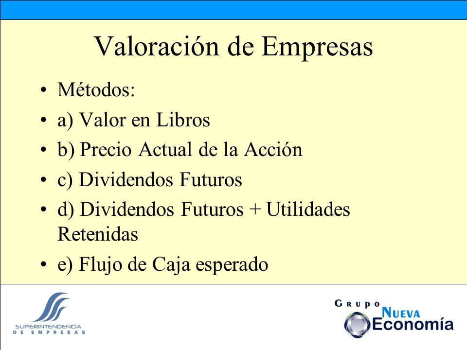 Valoración de Empresas Métodos: a) Valor en Libros b) Precio Actual de la Acción c) Dividendos Futuros d) Dividendos Futuros + Utilidades Retenidas e)