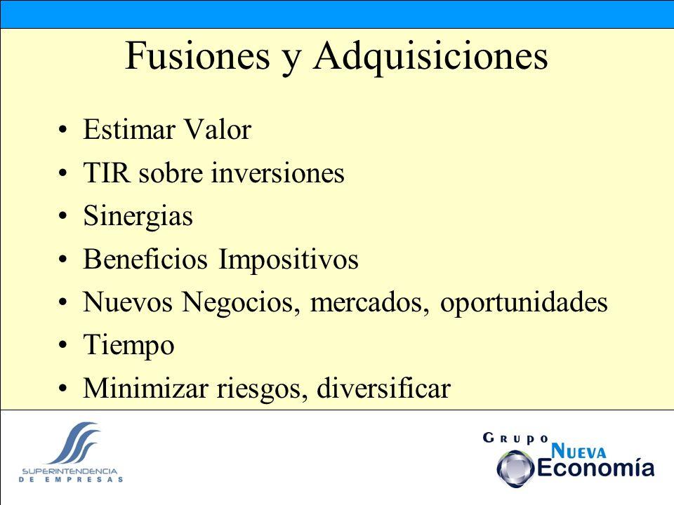 Fusiones y Adquisiciones Estimar Valor TIR sobre inversiones Sinergias Beneficios Impositivos Nuevos Negocios, mercados, oportunidades Tiempo Minimiza