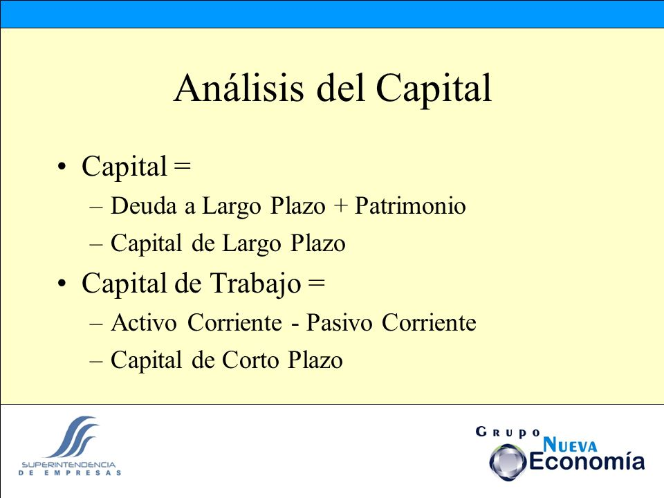 Análisis del Capital Capital = –Deuda a Largo Plazo + Patrimonio –Capital de Largo Plazo Capital de Trabajo = –Activo Corriente - Pasivo Corriente –Ca