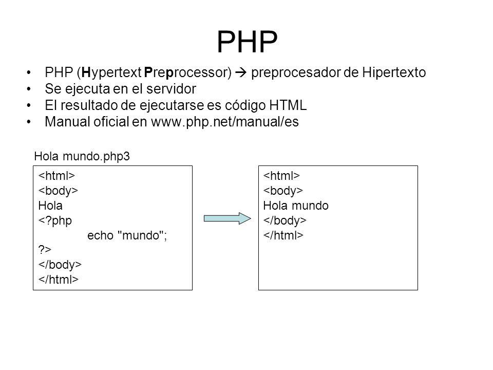 PHP (Hypertext Preprocessor) preprocesador de Hipertexto Se ejecuta en el servidor El resultado de ejecutarse es código HTML Manual oficial en www.php