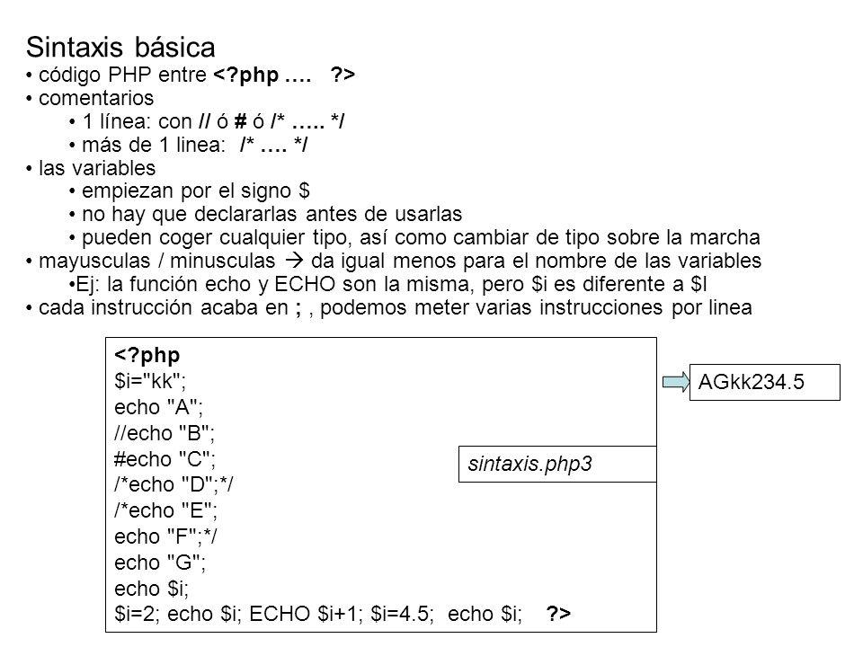 <?php echo hola mundo ; ?> Sintaxis básica - En un archivo PHP es posible convinar PHP y HTML de las siguientes formas a.php3 <?php echo hola mundo; ?> ; ?> Uno ; ?> Dos ; ?> Tres c.php3 d.php3 hola mundo b.php3