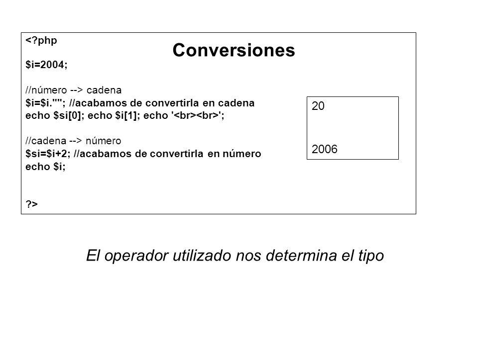 <?php $i=2004; //número --> cadena $i=$i.