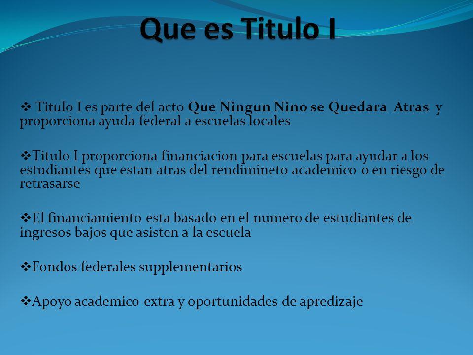 Titulo I es parte del acto Que Ningun Nino se Quedara Atras y proporciona ayuda federal a escuelas locales Titulo I proporciona financiacion para escu
