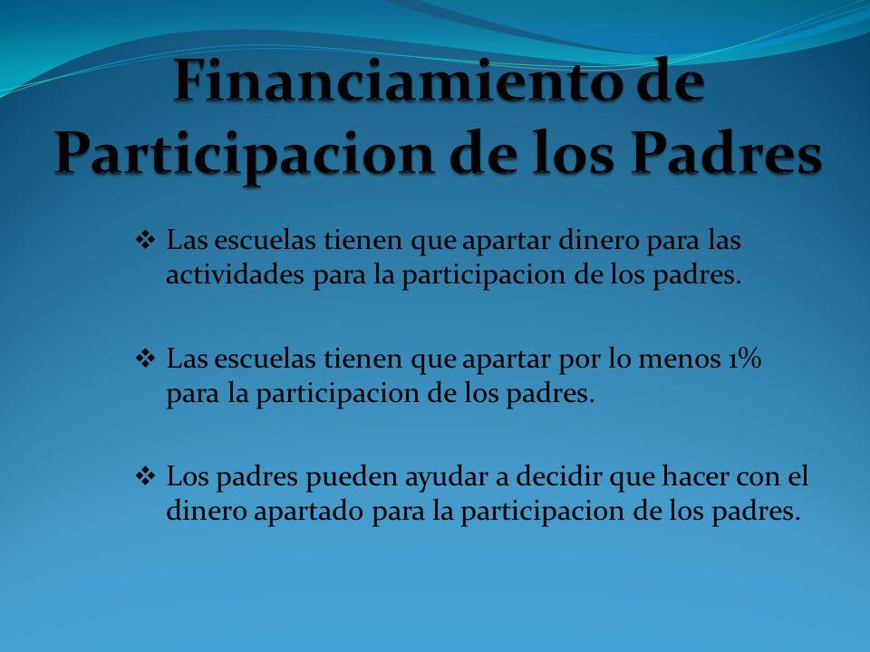 Las escuelas tienen que apartar dinero para las actividades para la participacion de los padres. Las escuelas tienen que apartar por lo menos 1% para