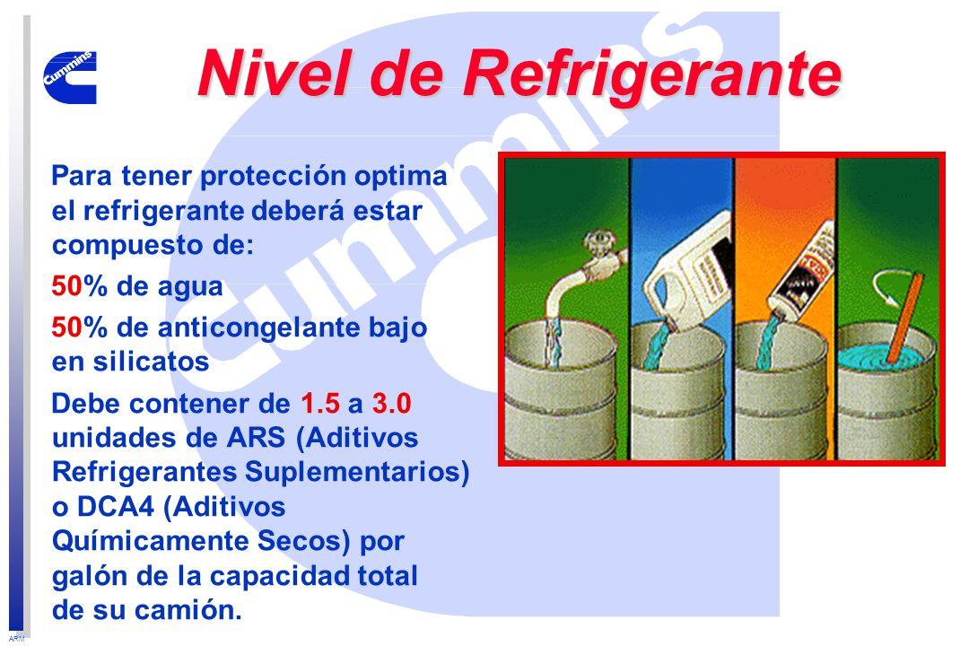 ARM Nivel de Refrigerante Para tener protección optima el refrigerante deberá estar compuesto de: 50% de agua 50% de anticongelante bajo en silicatos