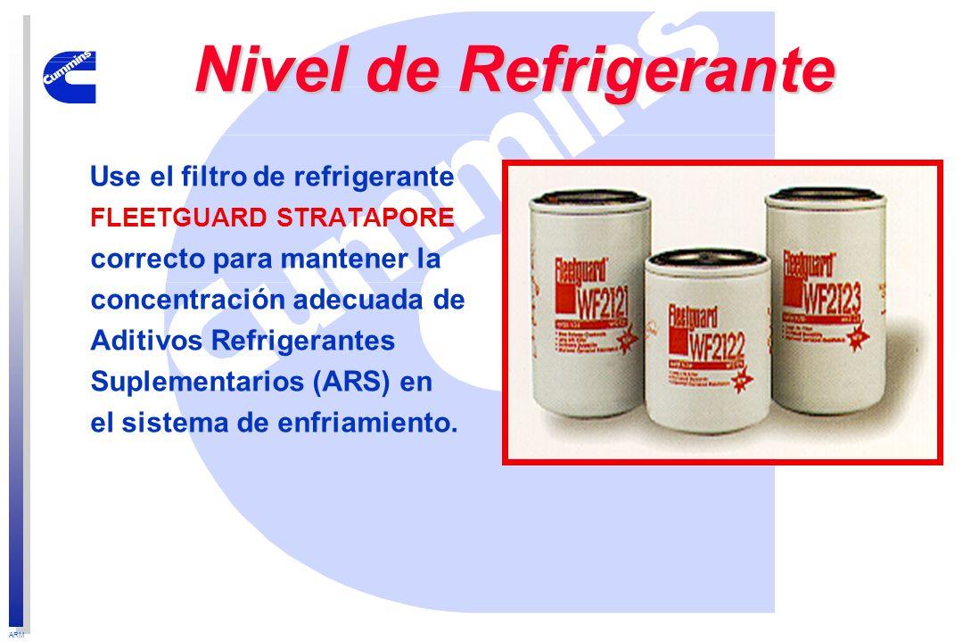 ARM Use el filtro de refrigerante FLEETGUARD STRATAPORE correcto para mantener la concentración adecuada de Aditivos Refrigerantes Suplementarios (ARS