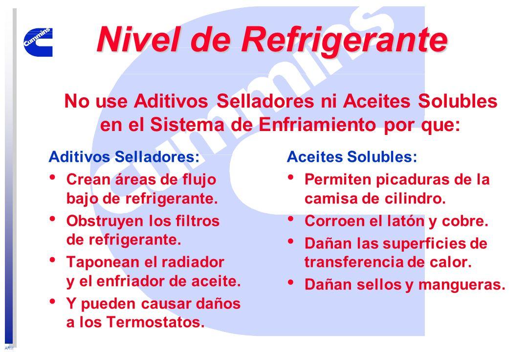ARM Aditivos Selladores: Crean áreas de flujo bajo de refrigerante. Obstruyen los filtros de refrigerante. Taponean el radiador y el enfriador de acei