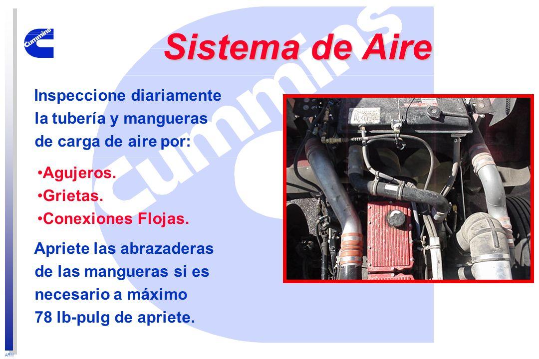 ARM Sistema de Aire Inspeccione diariamente la tubería y mangueras de carga de aire por: Apriete las abrazaderas de las mangueras si es necesario a má